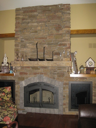 North country carpentry fireplace mantels wooden for Country stone fireplace